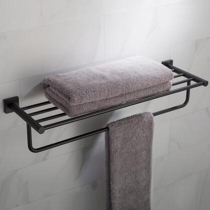 KEA-17742MB Ventus Bathroom Shelf with Towel Bar in Matte Black