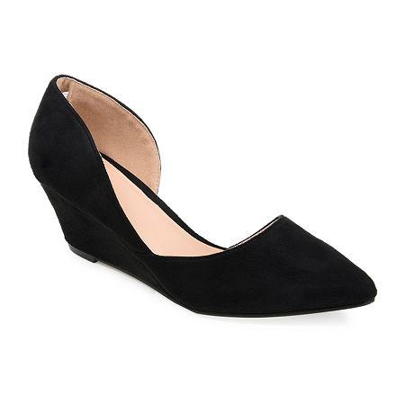 Journee Collection Womens Lenox Pumps Wedge Heel, 6 Medium, Black