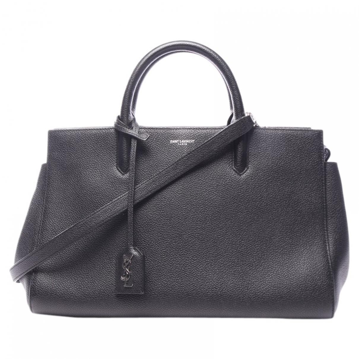 Saint Laurent Cabas Rive Gauche Handtasche in  Schwarz Leder