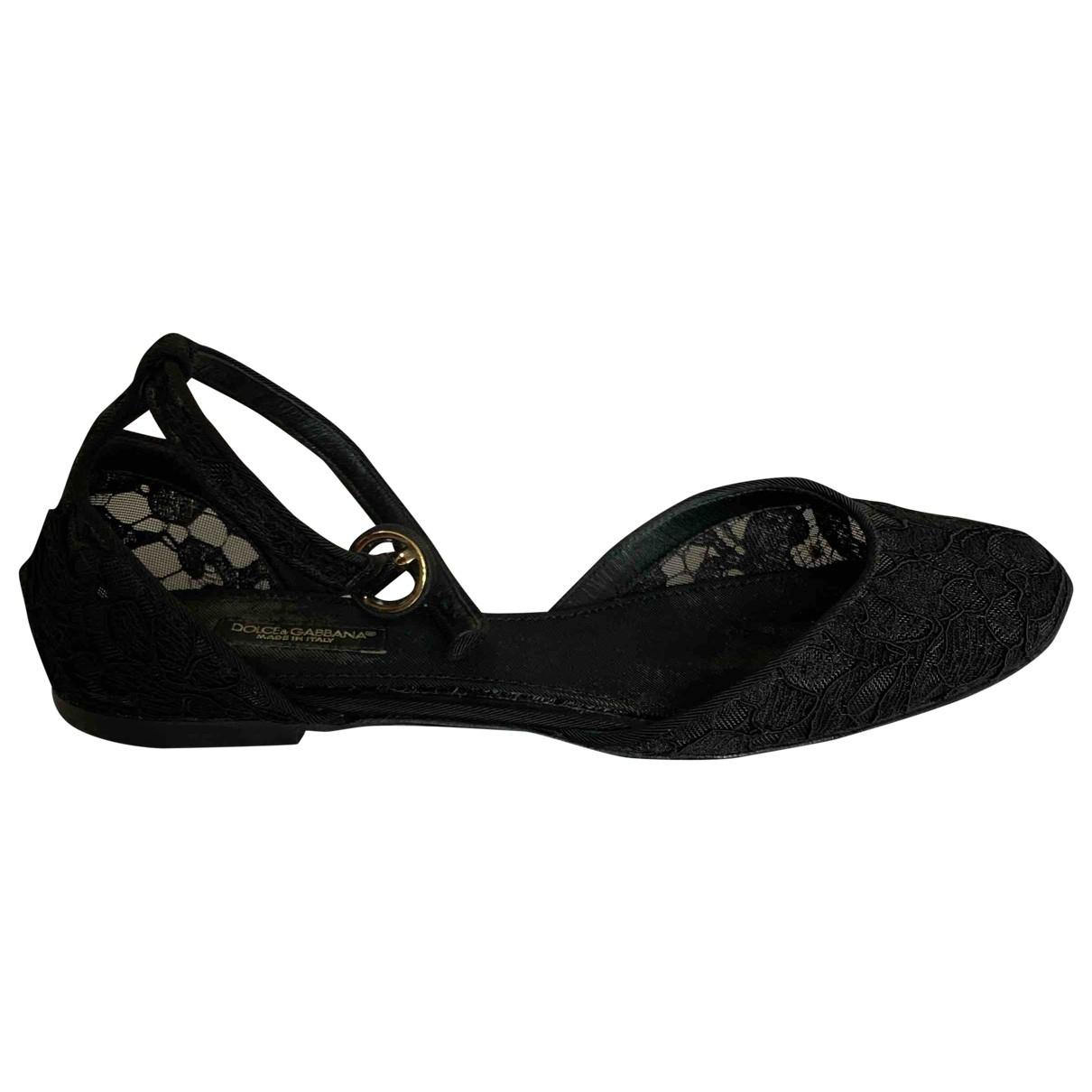 Dolce & Gabbana - Ballerines Taormina pour femme en toile - noir