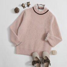 Girls Frill Neck Flounce Sleeve Sweater