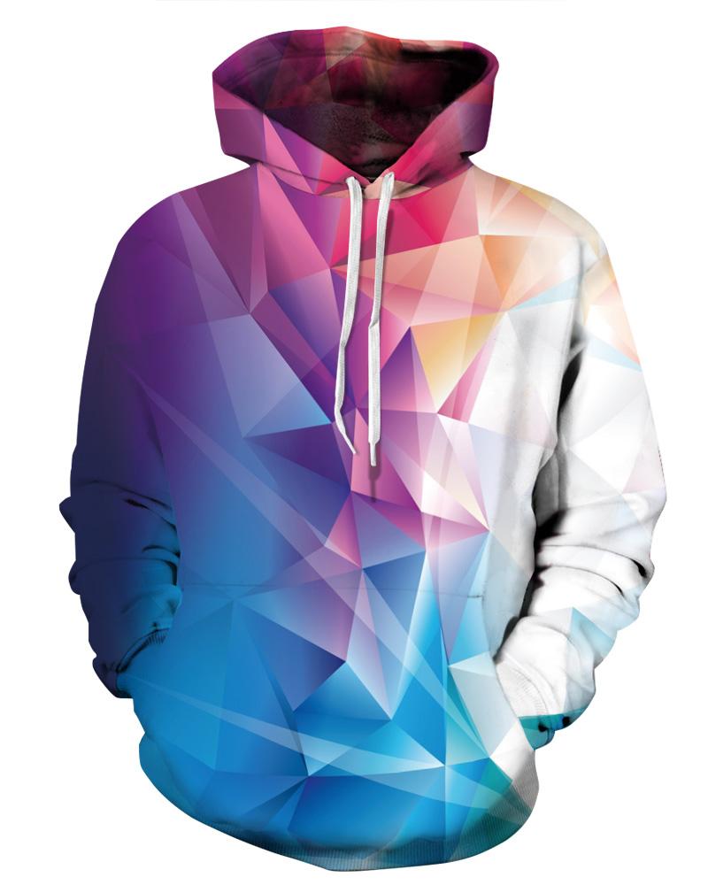 3D Colorful Rhombus Pattern Men Sweater Long Sleeve Cool Hoodies