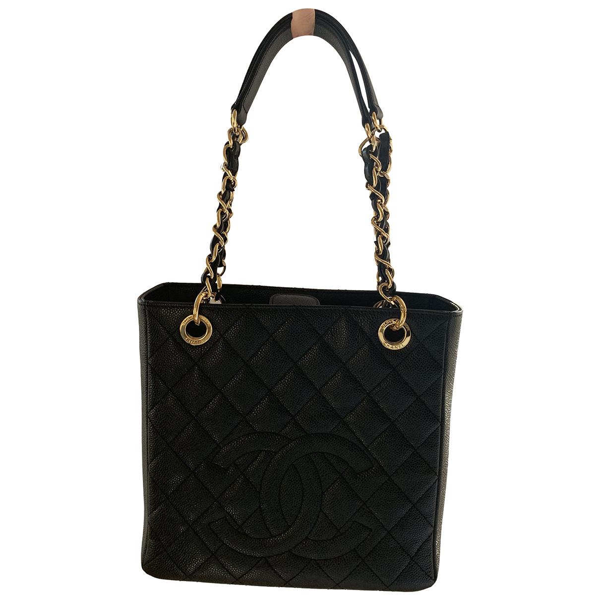 Chanel Petite Shopping Tote Black Leather handbag for Women N