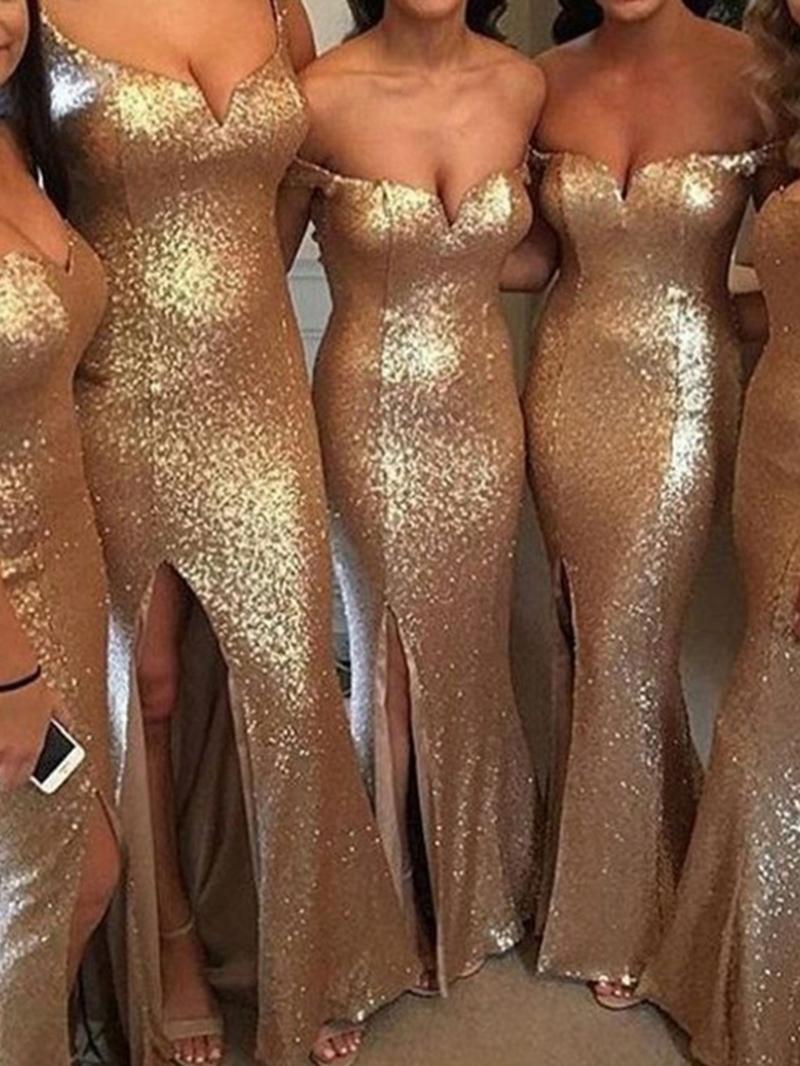 Ericdress Split-Front Sequin Mermaid Bridesmaid Dress