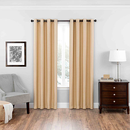 Eclipse Blackout Grommet-Top Single Curtain Panel, One Size , Brown