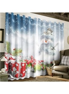 3D White Snow Man and Christmas Gifts Printed 2 Panels Decorative Custom Curtain