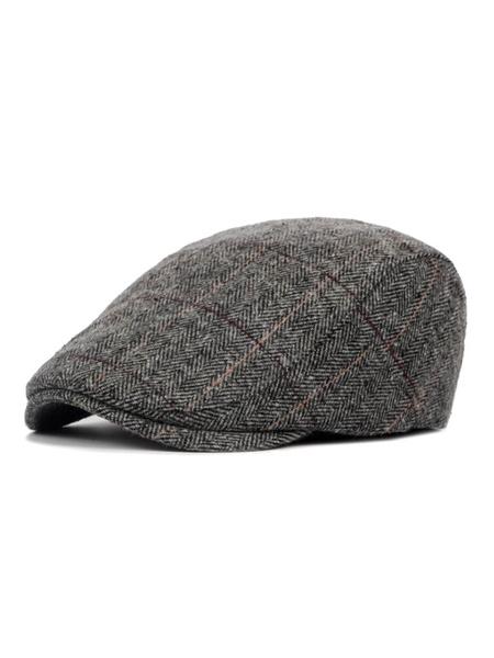 Milanoo Men Flat Cap Wool Plaid British Style Tweed Hat