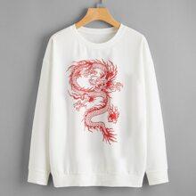 Chinese Dragon Graphic Drop Shoulder Sweatshirt