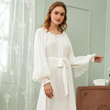 Embroidered Mesh Panel Lantern Sleeve Self Belted Nightdress