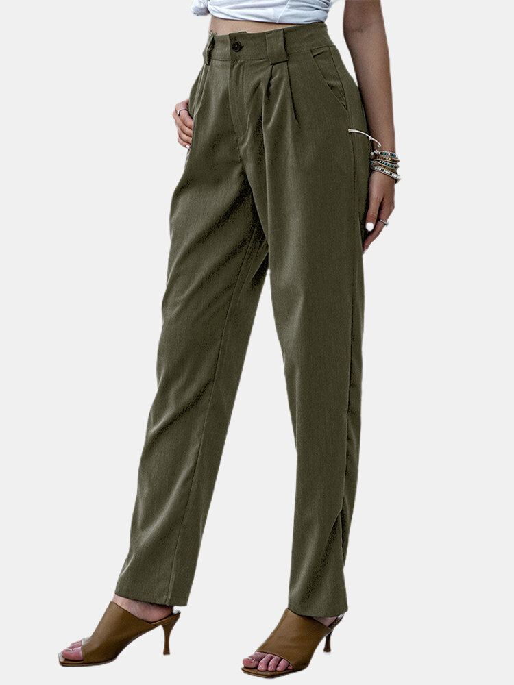 Solid Color Casual Zipper Fly Suit Pants For Women