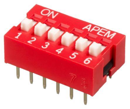 APEM 6 Way Through Hole DIP Switch SPST, Raised Actuator (27)