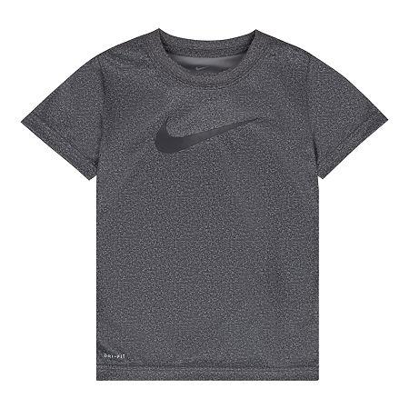 Nike Little Boys Moisture Wicking Crew Neck Short Sleeve Graphic T-Shirt, 5 , Gray