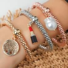 3 Stuecke Armband mit Perlen & Lippenstift Anhaenger
