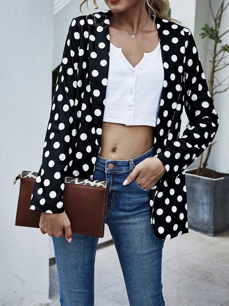 Ericdress Polka Dots Notched Lapel Long Sleeve Mid-Length Regular Casual Blazer