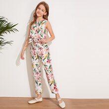 Girls Zip Back Belted Floral Print Jumpsuit
