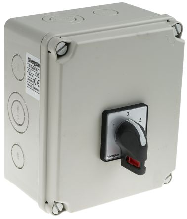RS PRO 2 Pole DIN Rail Changeover Switch - 32 A Maximum Current, 15 kW Power Rating, IP65