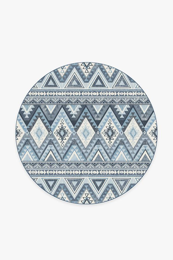 Washable Rug Cover | Pueblo Blue Rug | Stain-Resistant | Ruggable | 6 Round
