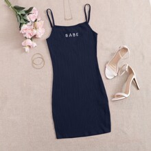 Letter Embroidery Rib-knit Bodycon Dress