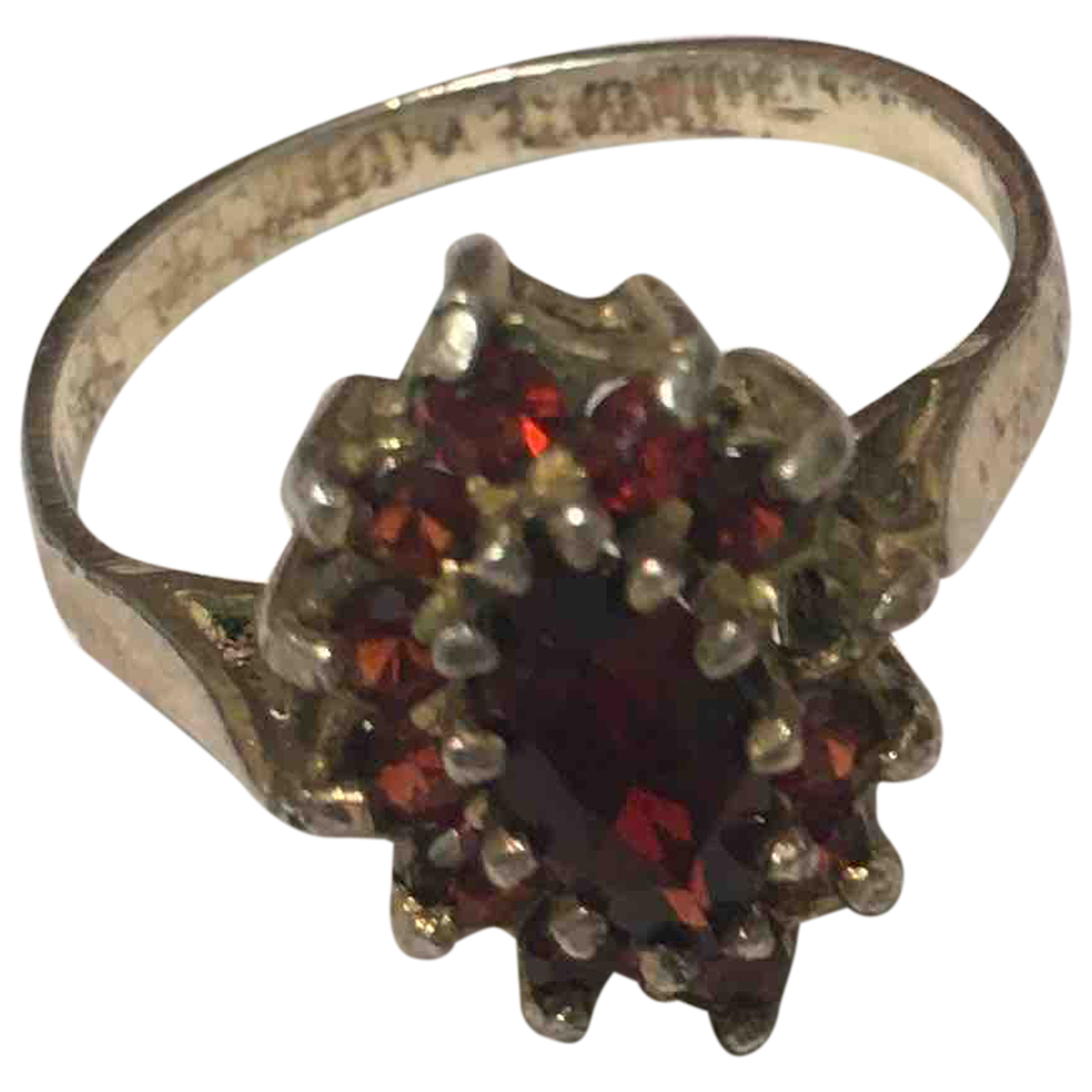 Non Signe / Unsigned Agate Ring in  Rot Silber