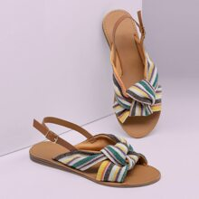 Stripe Knot Open Toe Slingback Sandals