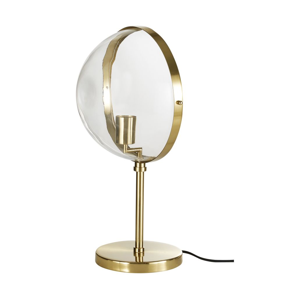 Halbkugelformige Lampe aus Glas und goldfarbenem Metall