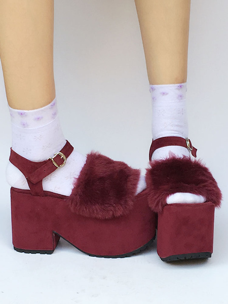 Milanoo Burgundy Lolita Shoes Suede Platform Ankle Strap Open Toe Sweet Lolita Shoes With Fur