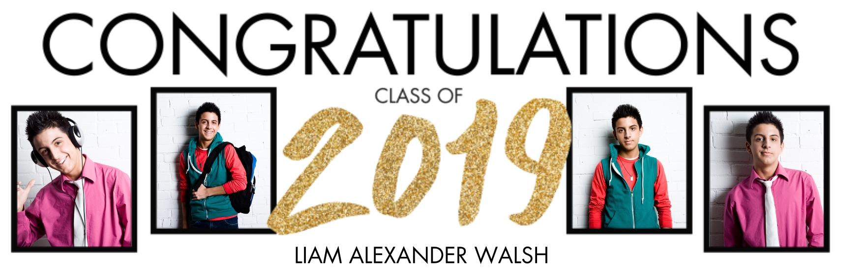 Graduation Photo Banner 1x3, Home Décor -Sparkling Graduate 2019