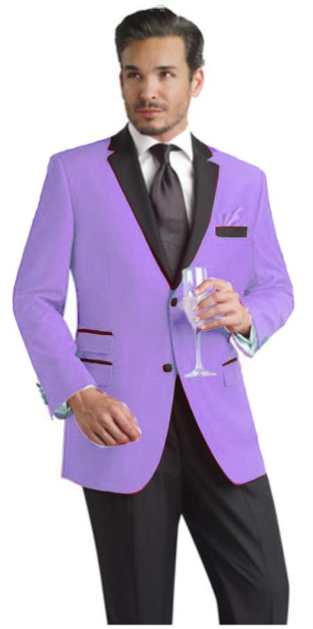 Lavender 2 Button Notch Party Suit and Tuxedo and Blazer w/Black Lapel
