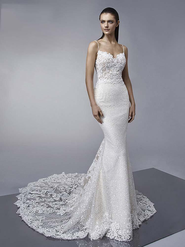 tirantes finos lentejuelas brillantes vestidos de novia de sirena | apliques sin espalda vestidos de novia