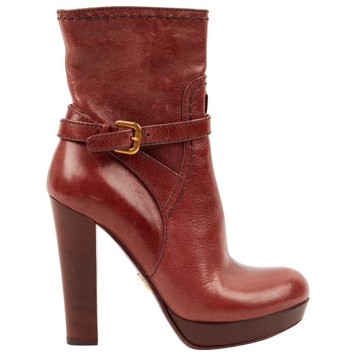 Prada \N Brown Leather Ankle boots for Women 38 EU
