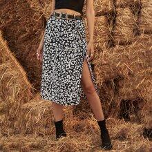 Allover Print Slit Skirt Without Belt