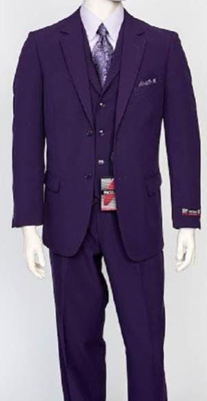 Mens Regular Fit 3 Piece Purple Notch Vest Poly Poplin Dress Suit