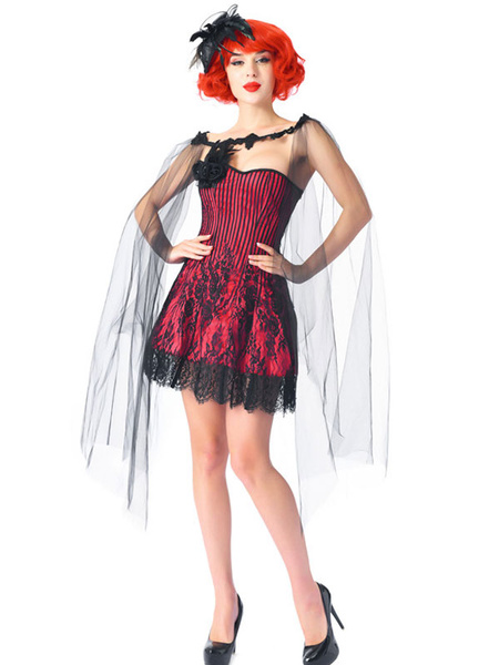 Milanoo Corset Dress With Cape 2-Piece Lace-up Casual Red Lace Up Corset For Women