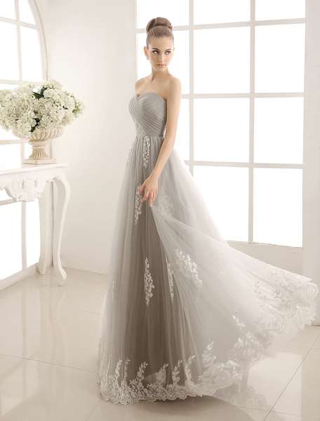 Milanoo Gray Lace Ruffles Strapless Satin Tulle Wedding Dress