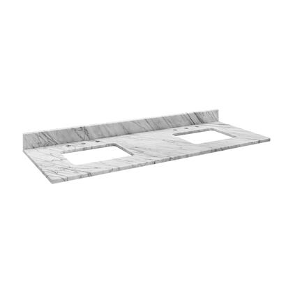MAUT61RWT Stone Top - 61-inch for Double Rectangular Undermount Sinks - White Carrara