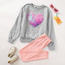 Pullover & Leggings Set mit Herzen Muster, Kunstpelz, Flicken und Applikationen