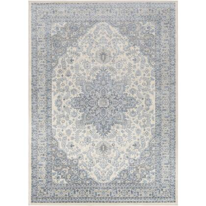 Monaco MOC-2313 810 x 123 Rectangle Traditional Rug in Bright Blue  Cream  Silver Gray  Medium