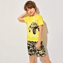 Boys Cars Graphic Tee & Camo Print Shorts Set
