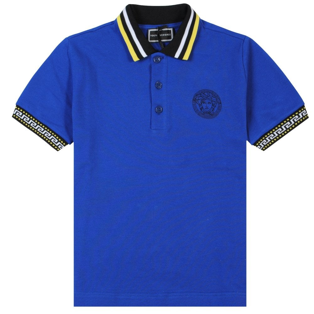 Versace Young Versace Blue Polo with Multi-Coloured Collar Colour: BLUE, Size: SMALL