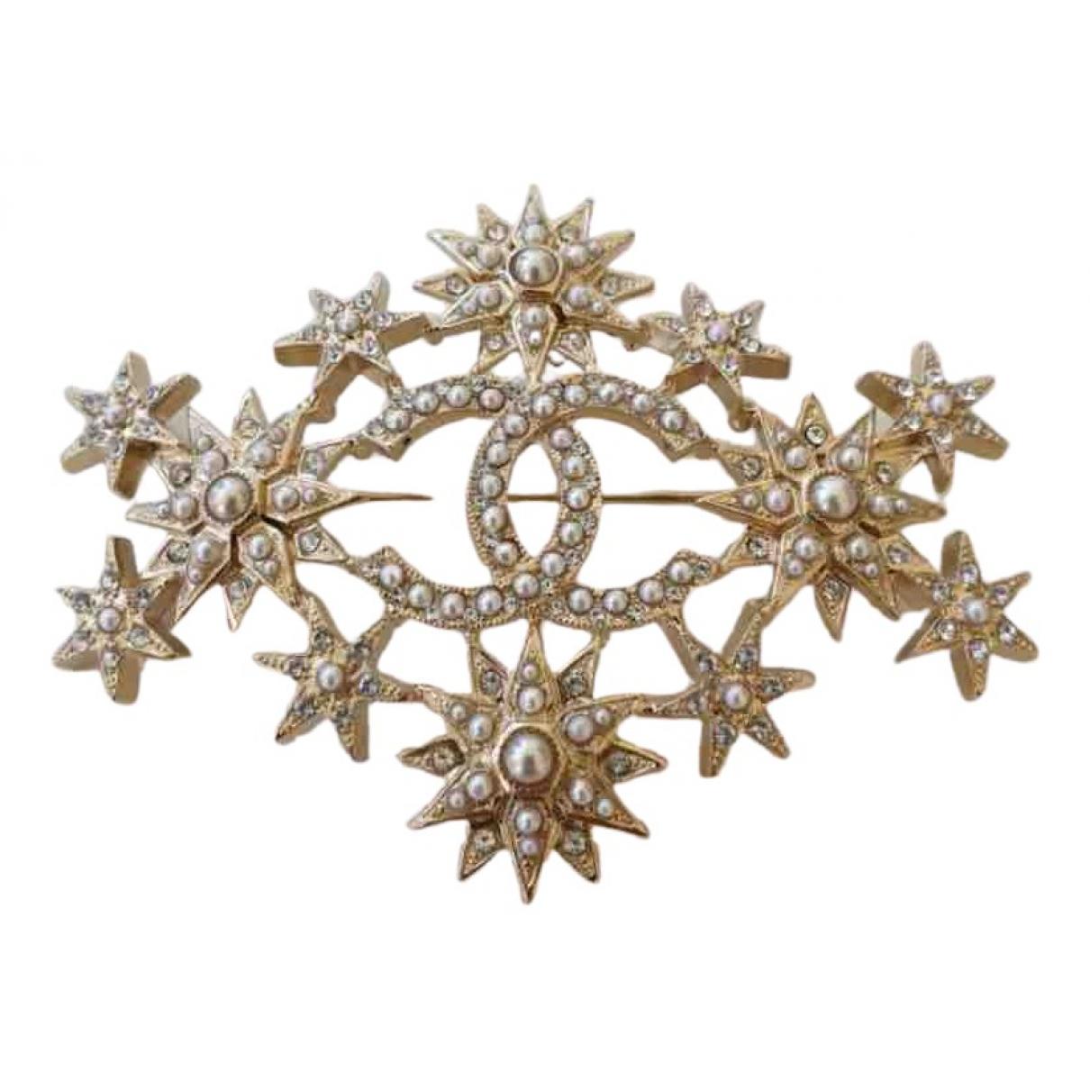 Chanel CC Brosche in  Gold Kristall