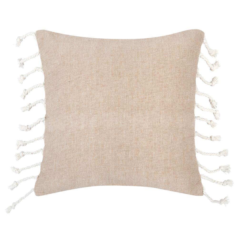 Kissenbezug aus Baumwolle, beige mit ecrufarbenen Pompons 40x40