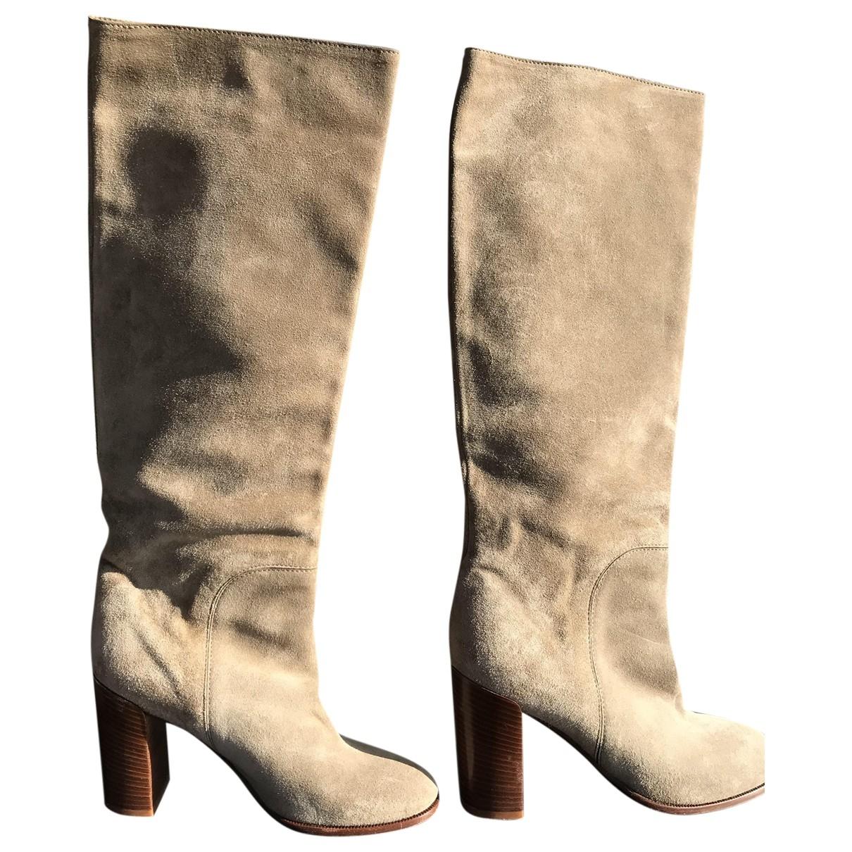 Celine - Bottes   pour femme en suede - beige