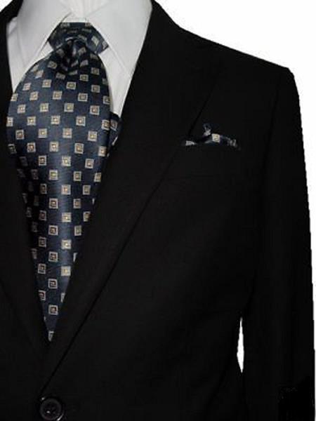 Bertolini Men's Solid Black Two Button Wool & Silk Blends Suit