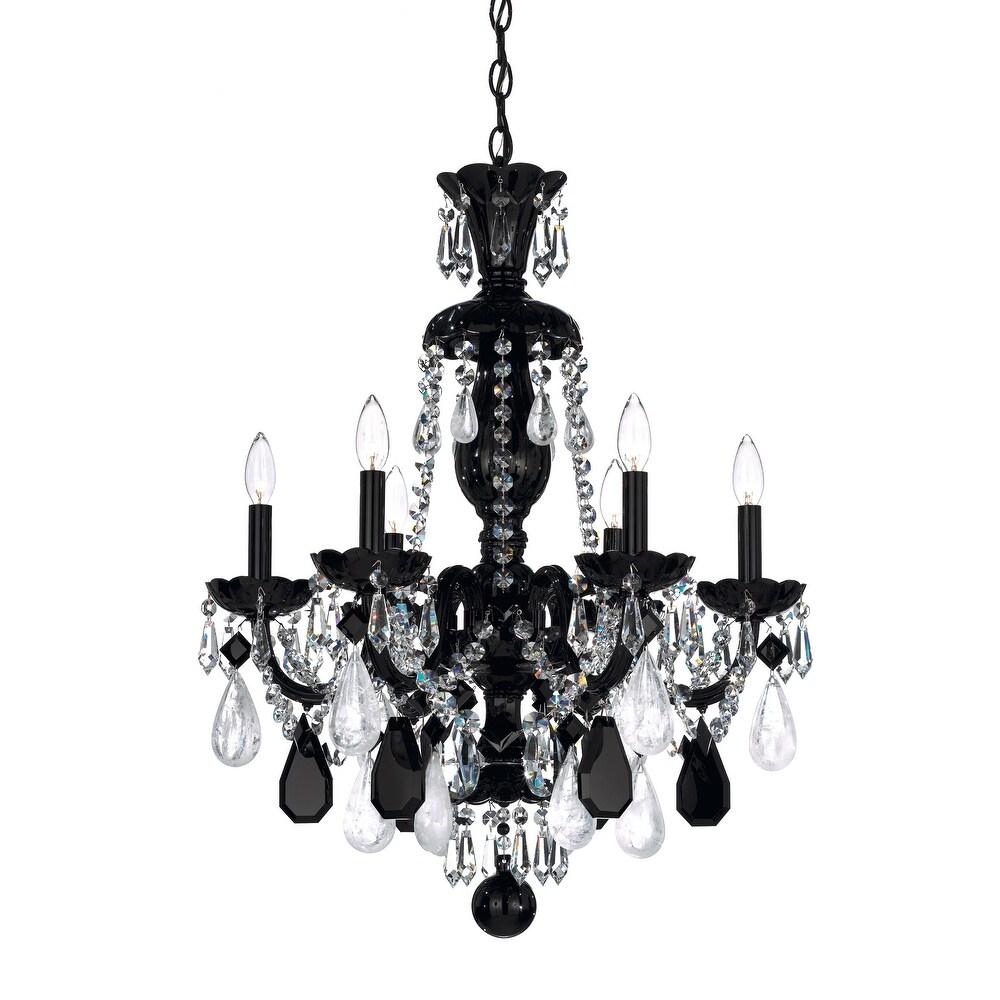 Hamilton  Crystal 6 Light Chandelier Jet Black Jet Black  Crystal - One Size (One Size - Clear)