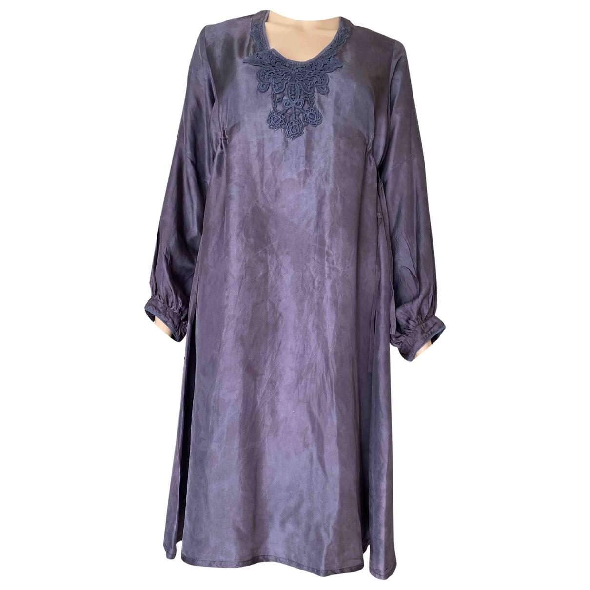 American Outfitters - Robe   pour femme en soie - bleu