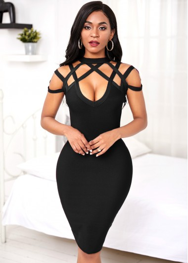 Black Dresses Black Lattice Yoke Sheath Dress - M