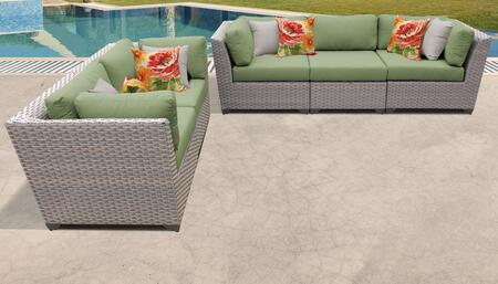 Florence Collection FLORENCE-05a-CILANTRO 5-Piece Patio Set with 4 Corner Chairs and 1 Armless Chair - Grey and Cilantro