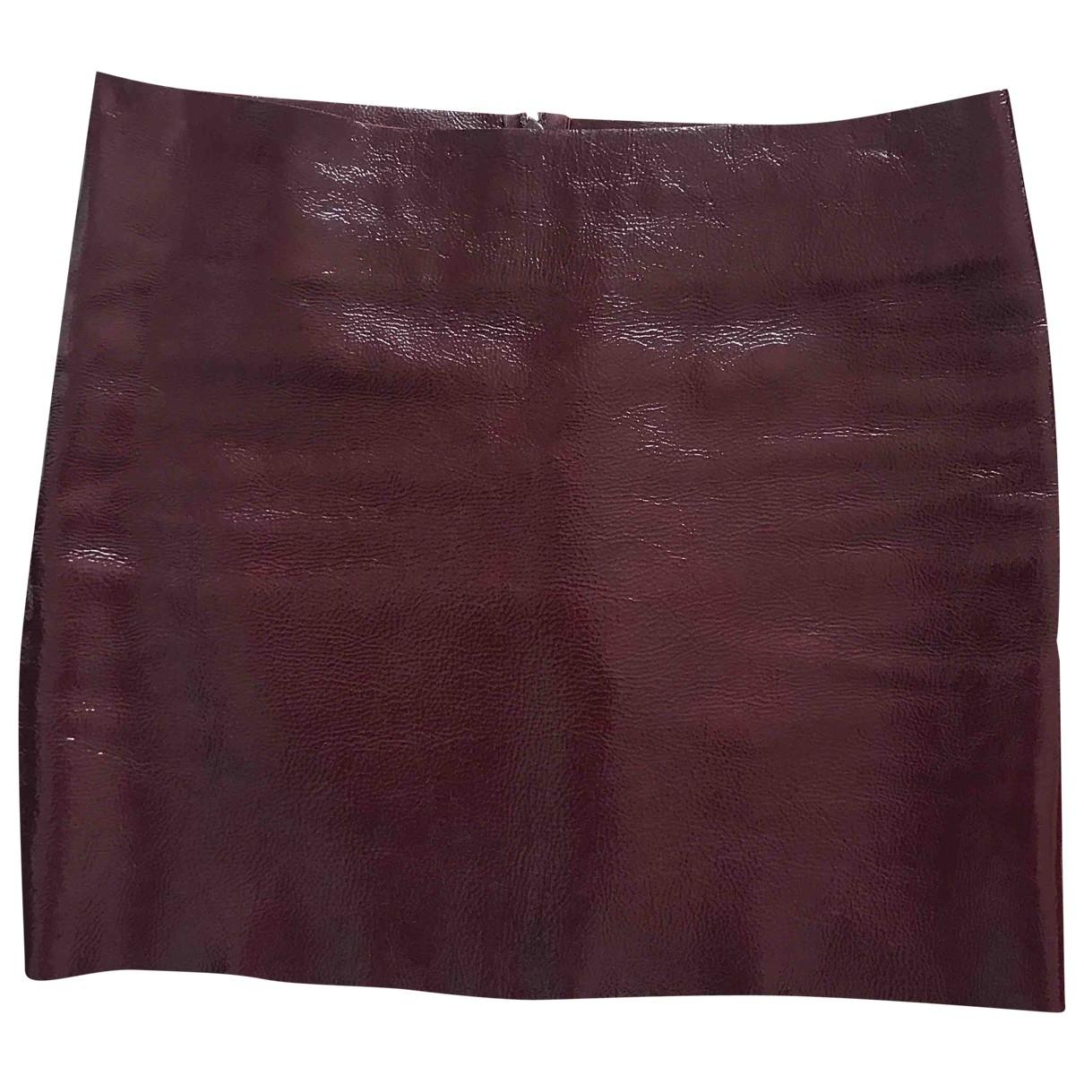 Maje - Jupe   pour femme en cuir verni - bordeaux
