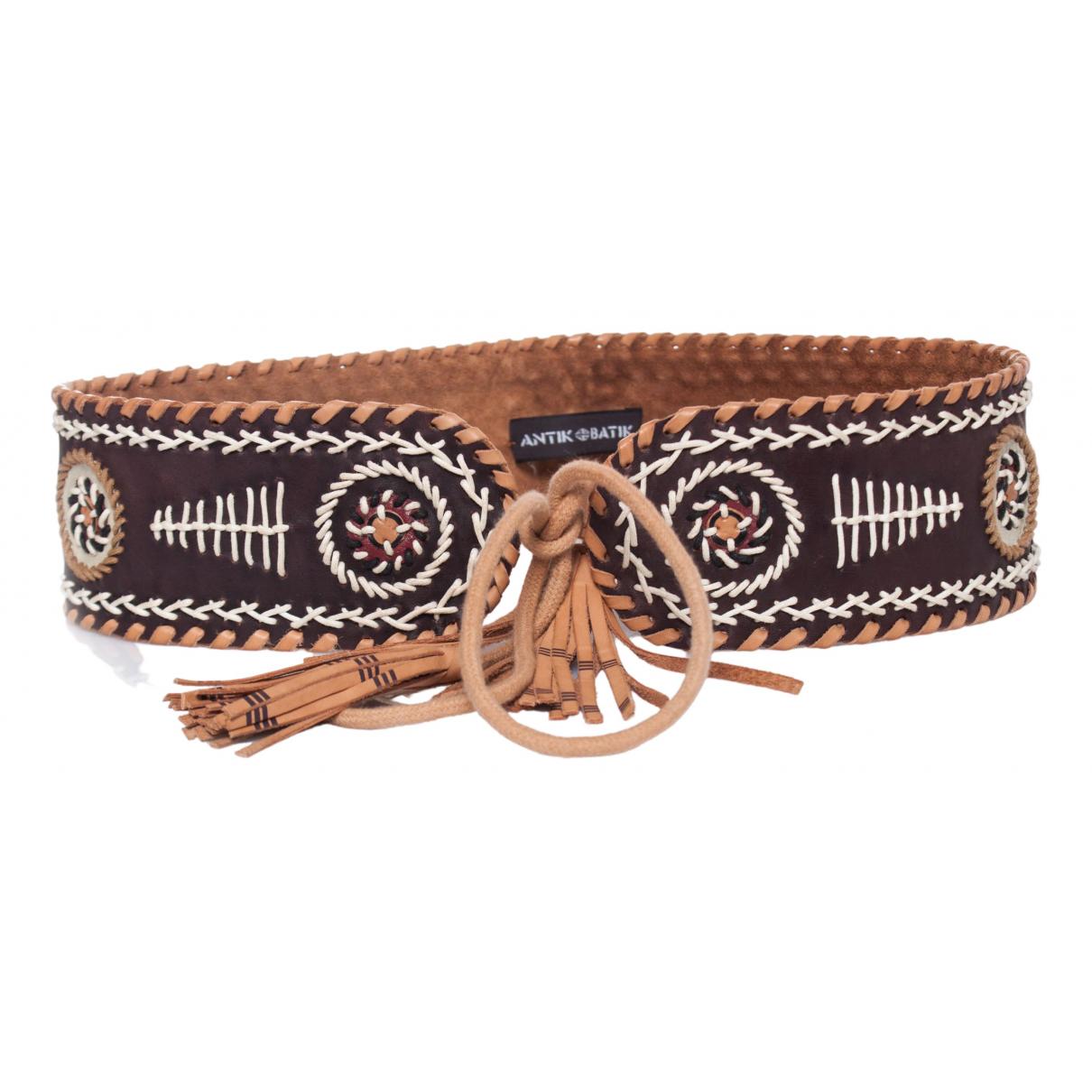 Antik Batik \N Guertel in  Braun Leder