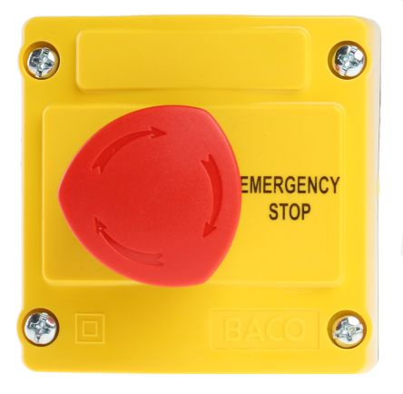 BACO Surface Mount Mushroom Head Emergency Button - NC, Twist to Reset, 40mm, Red/Yellow/Black